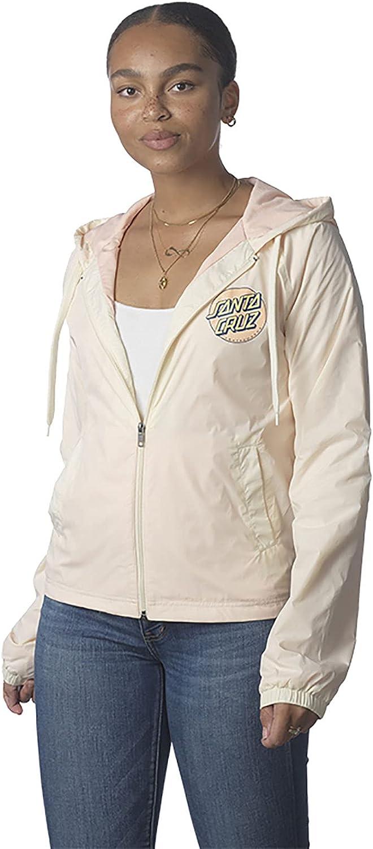 Santa Cruz Women's Other Dot Hooded Windbreaker Jackets,Small,Eggshell