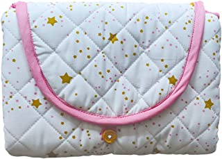 "Portable Diaper Changing Pad in 100% Organic Cotton, Quilted and Padded for Softness, 19"" x 26"" for Newborn & Baby, Starlight (Pink)"