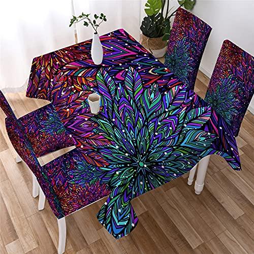 XXDD Mantel de Mandala, Mantel Decorativo Floral Bohemio, Mantel de Flores Coloridas para Cocina, Comedor A9, 140x180cm