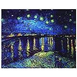 Legendarte - Cuadro Lienzo, Impresión Digital - Noche Estrellada Sobre El Ródano - Vincent Van Gogh - Decoración Pared cm. 40x50