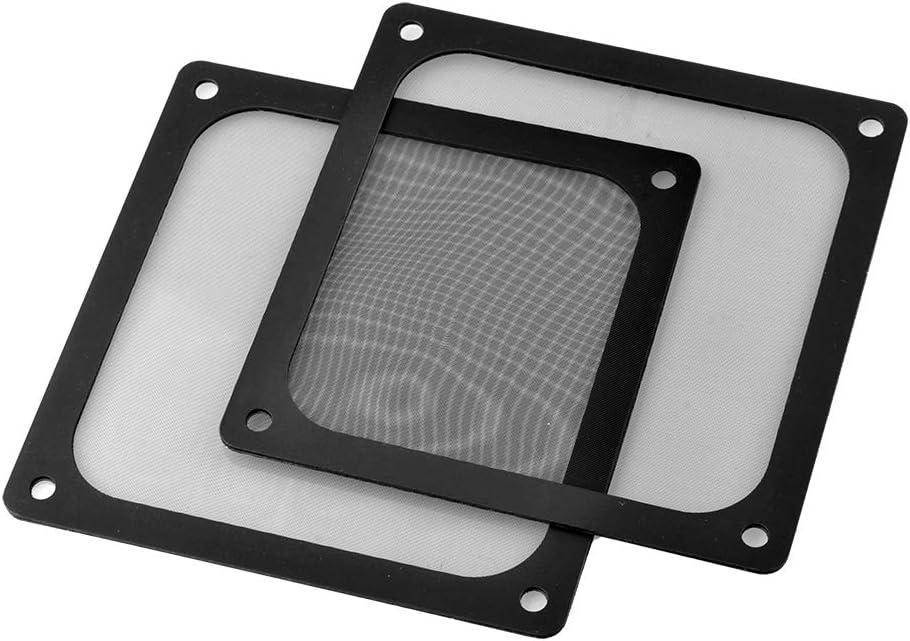 S SIENOC 2 x 140mm Filtro de Polvo Filtro de Ventilador de Ordenador Cubierta Antipolvo Negra de Magnético PVC Malla de Ordenador (2 x 140mm, Negro)