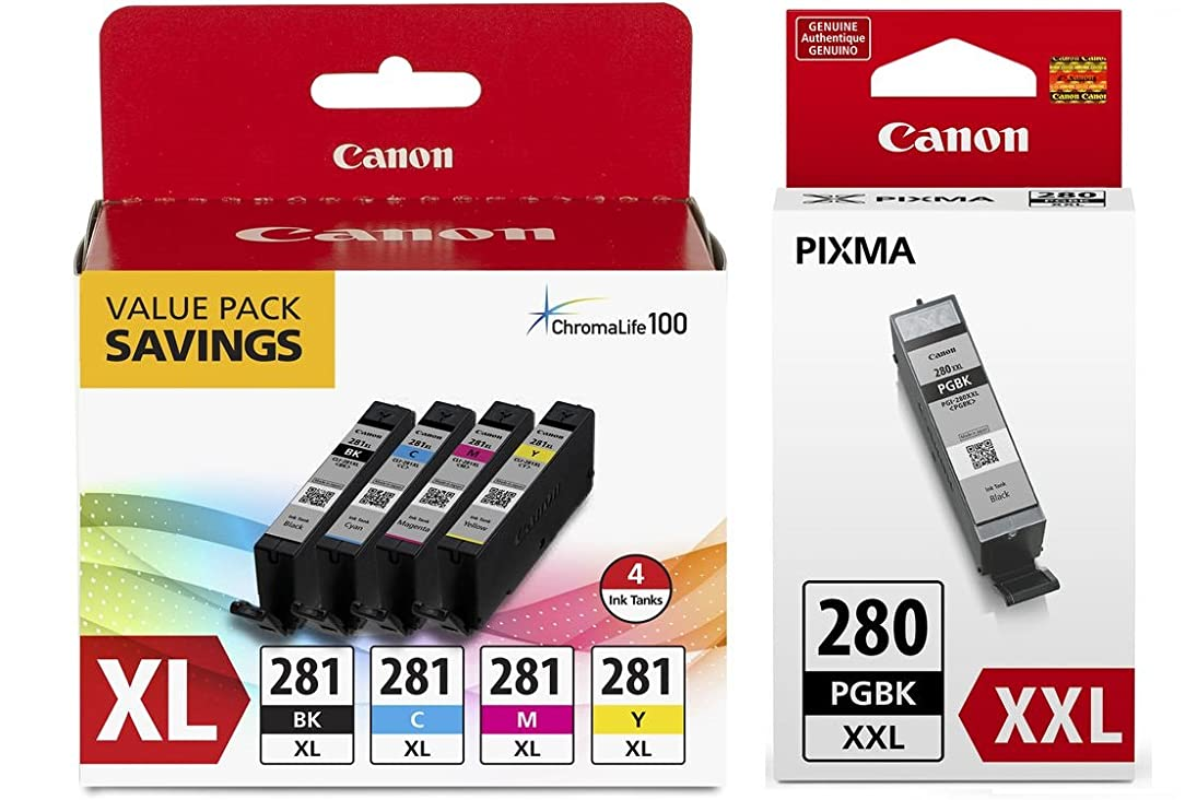 Canon CLI-281 XL BKCMY 4-Color Ink Tank Value Pack (2037C005) + Canon PGI-280 XXL Pigment Black Ink Tank (1967C001)