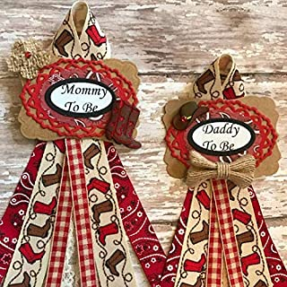 Western Theme Mommy To Be or Daddy To Be Baby Shower Corsage, Burlap Western Baby Shower Corsage, Red and Rustic Western Theme