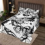 Coverlet Set Queen Black And White Bedding Set Butterflies Comforter Cover Kids Teens Adults Quilt Cover Set Mysterious Insects Black Ink Dot Bed Covers Queen 3 Piece Coverlet Set with 2 Pillow Sham