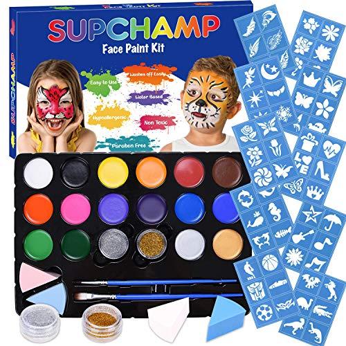 Supchamp Kinderschminke Set Face Paint,Schminkset für Kinder, 16-farbige, ungiftige Schminkpalette mit 60 Schablonen, Makeup für Kinder geeignet, Schminkset für Halloween und Fasching