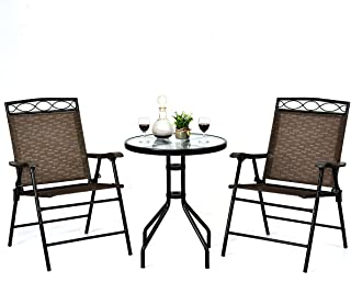 Giantex Patio Dining Set Round Glass Table with 2 Patio...