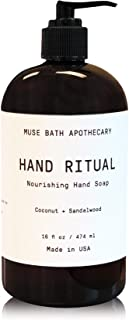 Muse Bath Apothecary Hand Ritual - Aromatic and Nourishing Hand Soap, 16 oz, Infused with Natural Essential Oils - Coconut + Sandalwood