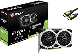 MSI GeForce GTX 1660 Ti Ventus XS Overclocked Graphics Card 6GB GDDR6 PCIe 3.0 Dual-Fan Turing Architecture Afterburner TO...