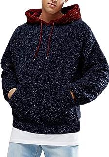 Men's Fluffy Hooded Jumper Teddy Fleece Hoodie Plush Sweatshirt Lightweight Pullover with Pocket Warm Winter Outwear