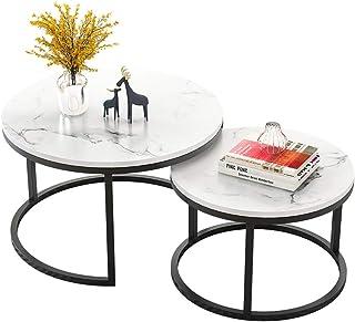 JJHOME-Muebles Home - Mesa Auxiliar contemporánea de Metal Negro con Efecto mármol [Tablero de MDF Blanco] Mesa de café a...