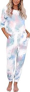 Fixmatti Women 2 Piece Tie Dye Sweatsuit Shirts Matching Sweatpants Set
