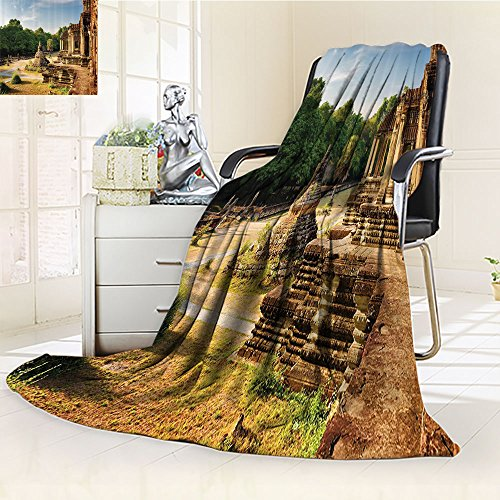 Home Custom Blanket By Nalohomeqq Outer Hallway With Columns Of Ancient Aged Monument Authentic Landmark Civilization Theme Accessories Tan Green