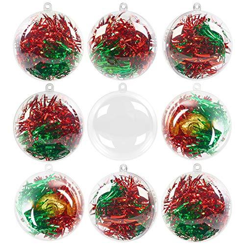 48 Bolas de Navidad Transparentes para Llenar, 6cm| Plástico Reutilizable y Resistente| Adornos de Bolas de Árbol de Navidad Personalizable, Decoración Navideña, Manualidades, Bodas, Regalos.
