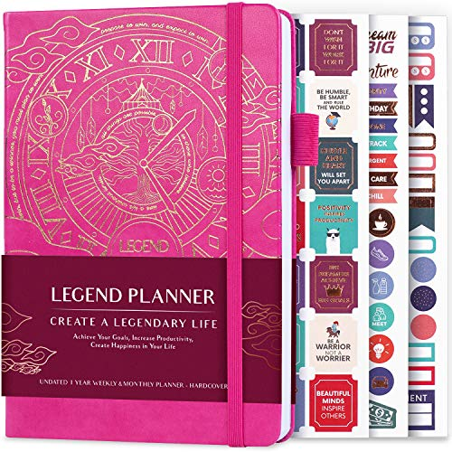Legend Planner – Deluxe Weekly & Monthly Life Planner to Hit Your Goals & Live Happier. Organizer Notebook & Productivity Journal. A5 Hardcover, Undated – Start Any Time + Stickers – Hot Pink Gold