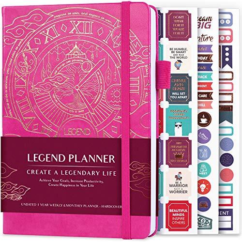 Legend Planner - Migliore agenda settimanale e calendario mensile per aumentare la produttività, raggiungere obiettivi e gestione del tempo principale - A5, Senza date (Rosa, Lamina d'oro)