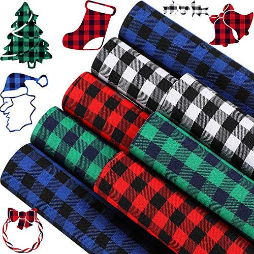 8 Pieces Christmas Buffalo Plaid Heat Transfer Vinyl Adhesive Iron On Vinyl Bundle Cloth Fabric Sheet Cloths Patches for Winter, 12 x 12 Inch