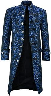 YUPENG Cappotto da Uomo Steampunk Halloween Giacca con Cappuccio da Uomo Giacca Gotica Redingote Uniforme Costume da Festa...
