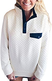 UONQD Women Long Sleeve Lattice Button Sweatshirt Pullover Blouse Tops