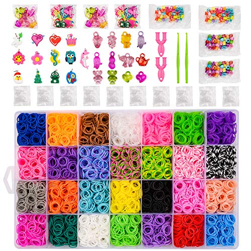 BLUESNOW 12000+Rainbow Rubber Bands Refill Kit,11000 DIY Loom Bands,28 Colors 500 S-Clips 200 Beads 50 Charms 4 Hooks,Bracelet Kits for Kids