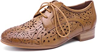 Womens Leather Perforated Lace-up Oxfords Brogue Wingtip Derby Saddle Shoes for Girls ladis Womens