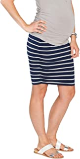 Angel Maternity Women's Maternity Rouched Bodycon Fitted Skirts, Navy Stripes, 2XL
