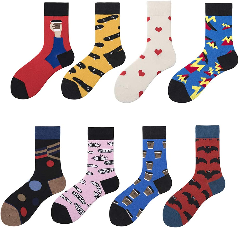Couple Socks Cartoon Street Hip Hop Cotton Neutral Sports Socks 8 Pairs