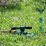 Yokunat Aspersor de Césped Giratorio 360º Aspersor de Agua para Jardín Sistema de Aspersores de Agua con 3 Rociadores de Brazos Ajustable (Lunado)