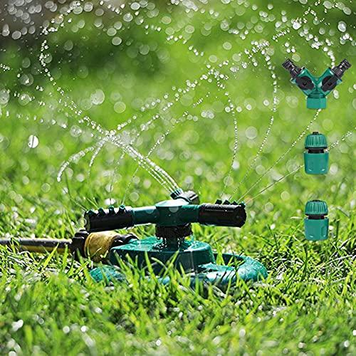 Arroseur de Jardin, Yokunat Arroseur de Pelouse Automatique Rotatif 360° à 3 Bras Arrosage Irrigation pour Pelouse Jardin Champ de Légumes Enfants Jouant (Luniforme)