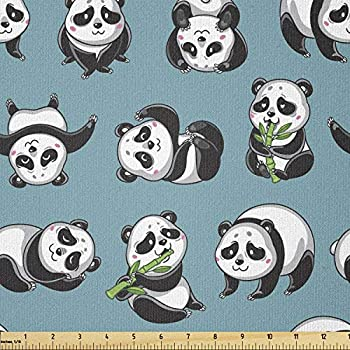 Lunarable Panda Fabric by The Yard Cartoon Style Pandas Bamboo Eating Herbivore Bears in States Sleeping Rolling Stretch Knit Fabric for Clothing Sewing and Arts Crafts 1 Yard Petrol Blue
