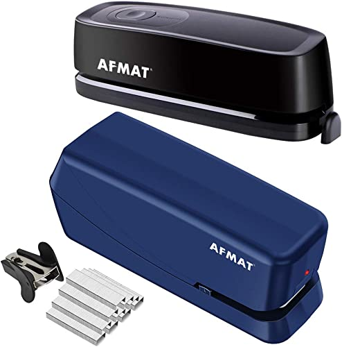 2021 AFMAT Electric Three Hole Punch sale Heavy Duty, 20-Sheet Punch Capacity, AC or Battery Operated Paper Puncher and wholesale Heavy Duty Stapler, 25 Sheets, AC or Battery Powered Electric Stapler online