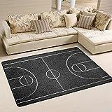 LORVIES Street Basketball Court Area Rug Carpet Non-Slip Floor Mat Doormats for Living Room Bedroom 36 x 24 inches