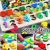 Afufu Giochi Bambini 3+ Anni, Giocattoli Educativi Montessori da Puzzle in Legno, Anelli impilabili per Imparare la Matematica Contare e Imparare i Colori, Giochi Educativo Set Regalo per 3 4 5 Anni #5