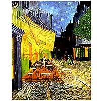 BGGGTD ポスター 夜の有名なヴァンゴッホカフェテラスキャンバスのポスターとプリントの油絵の複製リビングルームの壁アート写真-50x70cmx1フレームなし