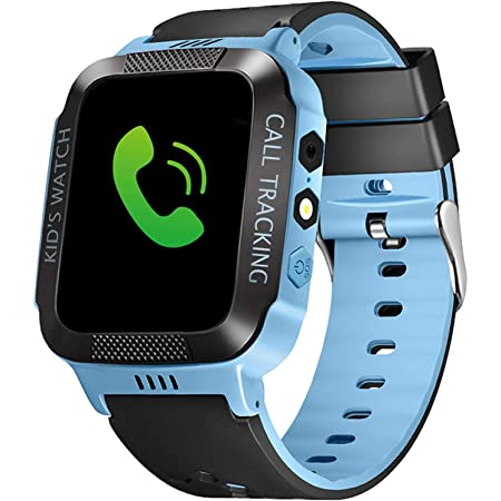 Kids Smartwatch with GPS Tracker IP67 Waterproof Smart Watch for Kids, Toddlers Phone Watch with Alarm Clocks (Black and Blue)