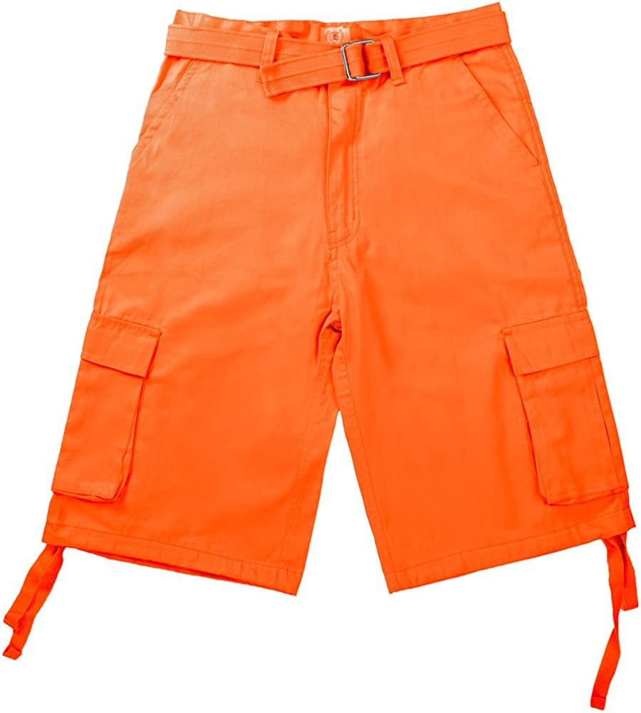 North 15 Men's Belted Crafted Cargo Pockets Twill Cotton Shorts