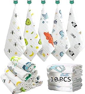 پارچه های دستشویی کودک Caiery 10pcs نرم   دستمال توالت کودک ماسلین   حوله های صورت برای نوزادان تازه متولد شده با پوست حساس   هدیه دوش مخصوص رجیستری کودک 12x 12 اینچ (30x30 سانتی متر)
