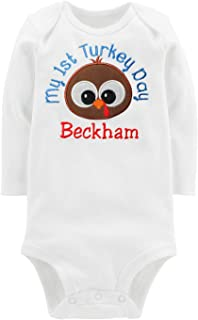 Embroidered Baby Boys Thanksgiving Turkey Onesie Bodysuit Personalized with Child Custom Name