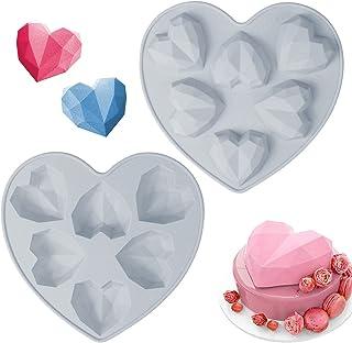 2 Pièces Moulle Coeur Silicone 3D,6-Cavités Moule en Silicone,Moulle en Forme de Coeur Silicone Diamant,Ustensiles Patisse...