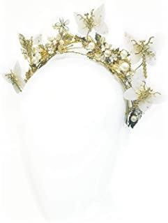 """Butterfly Garden"" White & Gold Custom Headband & Crown"