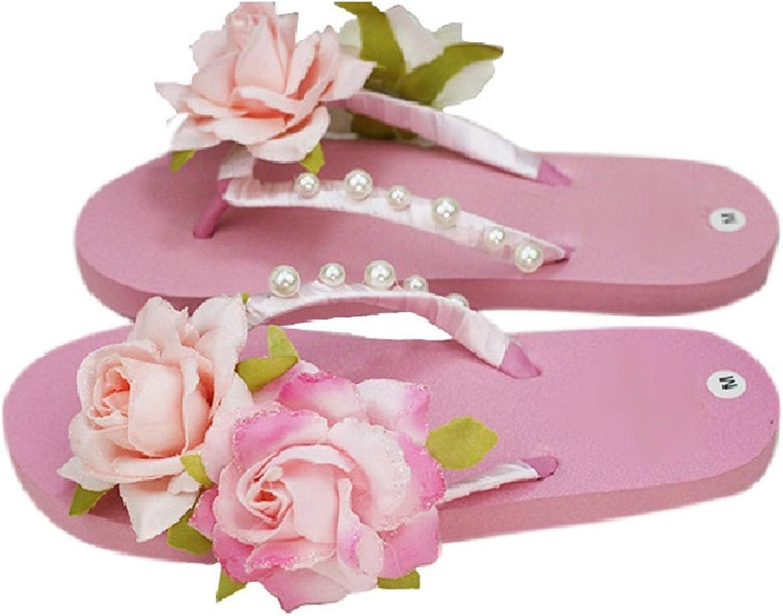 ZHOUZJ Outdoor flip Flops Women Flower Bordered Slippers Low Wedge Flipflops Platform Beach Seaside shoes