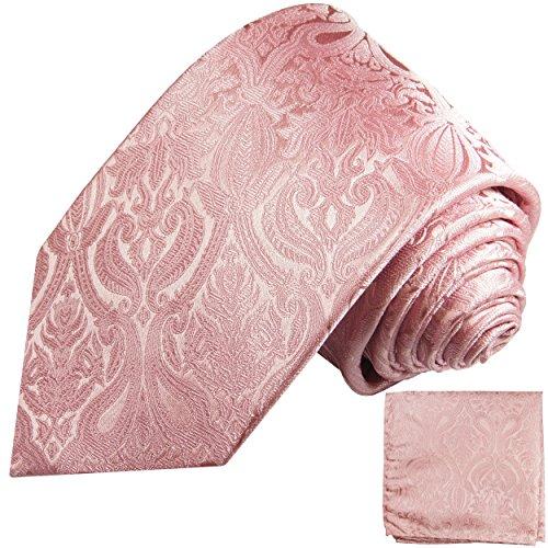 Pinkes Krawatten Set 2tlg 100% Seidenkrawatte mit Einstecktuch
