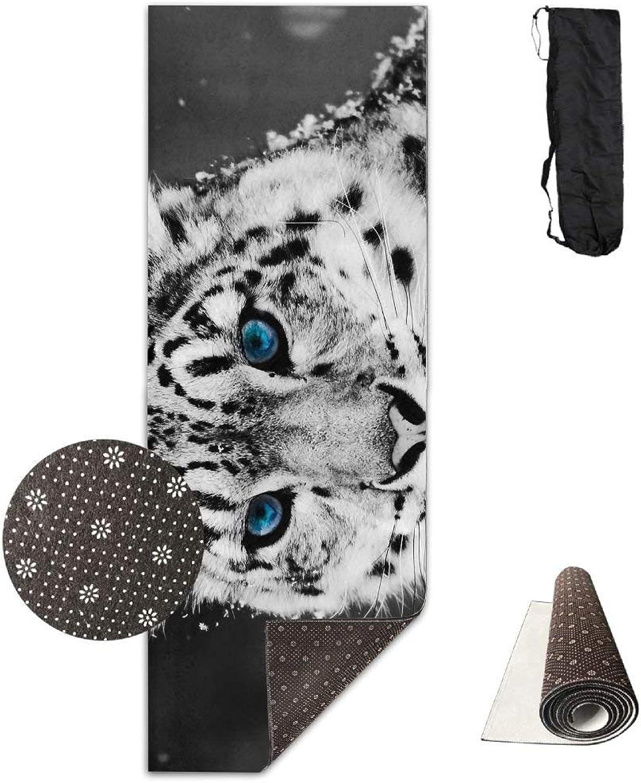 Black and White Snow Leopard Cheetah Yoga Mat Towel for Bikram Hot Yoga, Yoga and Pilates, Paddle Board Yoga, Sports, Exercise, Fitness Towel