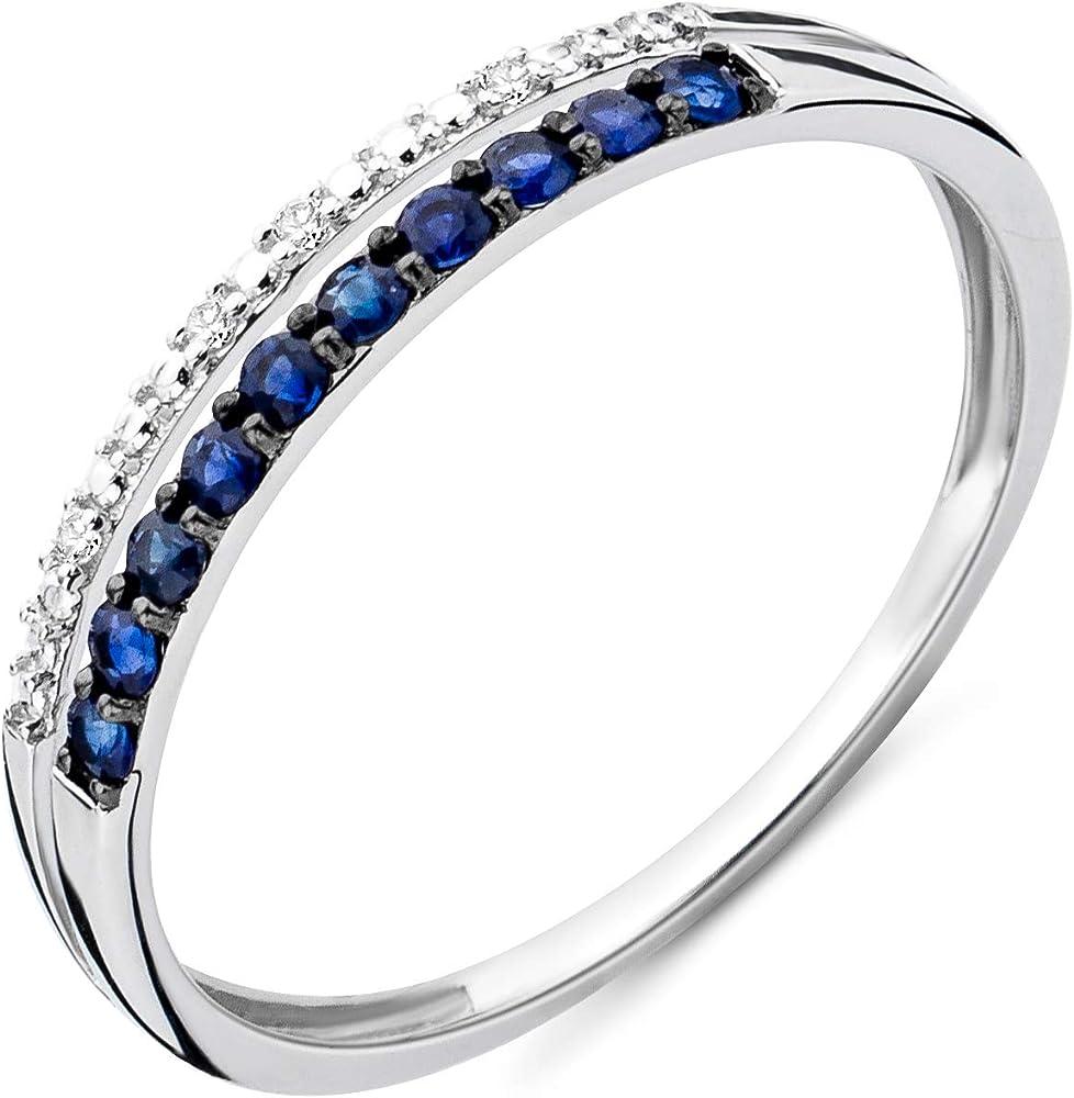Miore anello da donna in oro bianco 9 carati / 375 con pietre di zaffiro blu 0,19 ct e diamanti brillanti MSJ9035R50