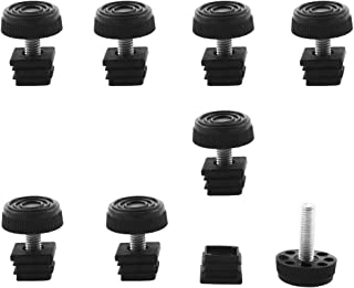 uxcell Leveling Feet 20 x 20mm Square Tube Inserts Kit Furniture Glide Adjustable Leveler for Chair Table Leg 8 Sets