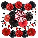 Zerodeco decorazione di festa, 21 pezzi ventilatori di carta, pompons, bandierine triangolare, ghirlande per decorazione della festa nuziale nozze nidi tatuaggi nuziale doccia decorazione