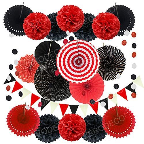 ZERODECO Party Dekoration Papier Pompoms, Rot und Schwarz Aufhängen Fächer Dreieckige Wimpel und hängende Glitter Punkt Papier Girlande Dekorpapier für Party Hochzeit Geburtstag