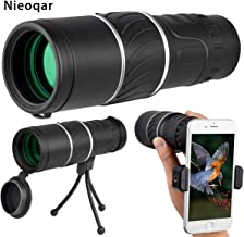 Nieoqar 16x52 High Power Monocular Telescope with Smartphone Adapter and Tripod, Single Hand Focus, Waterproof Fogproof Shockproof for Bird Watching Hunting Camping Hiking Travelling