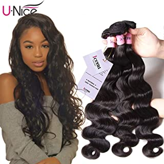 UNice Hair Malaysian Body Wave 3 Bundles, 100% Unprocessed Virgin Human Hair Weave Extensions, Natural Color 95-100g/pc (12 14 16 inches)