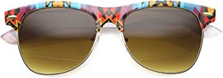 Native Printed Frame Square Lens Semi-Rimless Sunglasses 55mm