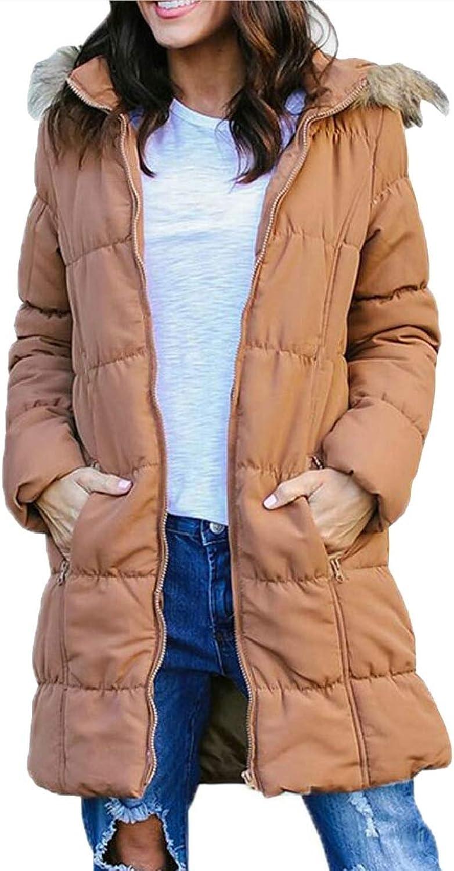 Women's Winter Soild Faux Fur Hooded Parka Puffer Jacket Long Overcoat